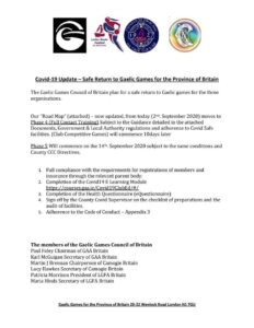 March 2021:  Provincial Council of Britain GAA Covid-19 Latest Information